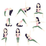 Cartoon Yoga Poses. Set of nine yoga poses. Black hair girl Stock Image