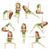 Cartoon Yoga Poses. Set of nine yoga poses. Brown hair girl Royalty Free Stock Photography
