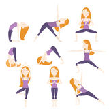 Cartoon Yoga Poses. Set of nine yoga poses. Red hair girl Royalty Free Stock Photo