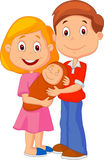 Cartoon Young adult couple tenderly embracing their baby Stock Photography