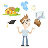 Cartoon young adult future plan career family Royalty Free Stock Photography