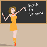 Cartoon young beautiful woman teacher near blackboard. Back to school concept vector illustration Stock Photography