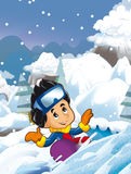 Cartoon young boy doing freestyle slide snowboard Royalty Free Stock Images