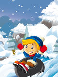 Cartoon young boy doing freestyle slide snowboard Stock Images