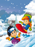 Cartoon young boy and girl doing freestyle slide snowboard Royalty Free Stock Photography