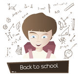 Cartoon young boy with school bag and hand drawn science Stock Image
