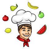 Cartoon young chef in toque with fresh fruits Royalty Free Stock Images