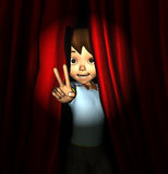 Child debut performance. Cartoon of young child behind stage curtain Stock Image