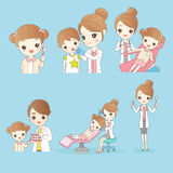 Cartoon young children with doctor Royalty Free Stock Image