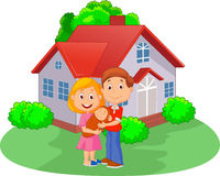 Cartoon Young couple with newborn son in front of the house. Illustration of Cartoon Young couple with newborn son in front of the house Stock Photos