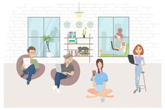 Cartoon young creative co working people, vector illustration set stock illustration