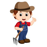 Cartoon young farmer holding rake. Illustration of Cartoon young farmer holding rake royalty free illustration