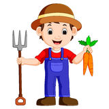 Cartoon young farmer holding rake. Illustration of Cartoon young farmer holding rake vector illustration