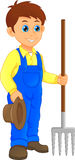 Cartoon young farmer holding rake. Vector illustration of Cartoon young farmer holding rake vector illustration