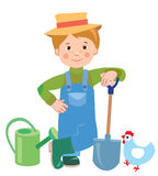 Cartoon young farmer. Watering can. Shovel. Farmer. Farmer Works. Employee. Vector Illustration On White Background. A Hen. Vector Hat. Nature And The Farmer Royalty Free Stock Photography
