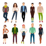 Cartoon young fashion people royalty free illustration