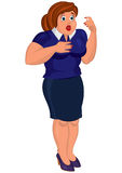 Cartoon young fat woman in blue top and skirt surprised Royalty Free Stock Images