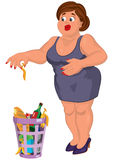 Cartoon young fat woman in gray dress disgusted near garbage can Stock Images