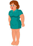 Cartoon young fat woman in green dress barefoot Royalty Free Stock Image