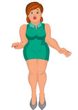 Cartoon young fat woman in green dress front view Royalty Free Stock Photography