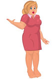 Cartoon young fat woman in pink dress barefoot one hand up Royalty Free Stock Photography