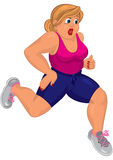 Cartoon young fat woman in pink top and running shoes running Royalty Free Stock Photos