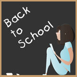Cartoon young girl with book on a blackboard. Back to school Royalty Free Stock Photography
