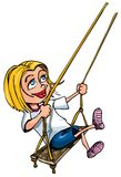 Cartoon of young girl on a swing Stock Photography