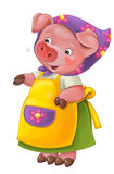 Cartoon young happy and funny mother pig - isolated background Royalty Free Stock Photo