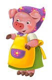 Cartoon young happy and funny mother pig - isolated background Stock Photography