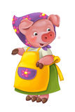 Cartoon young happy and funny mother pig - isolated background Royalty Free Stock Images