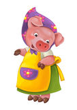 Cartoon young happy and funny mother pig - isolated background Royalty Free Stock Photography