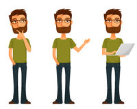Cartoon young man with beard and glasses Royalty Free Stock Images