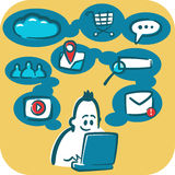 Cartoon young man browsing the internet using laptop. Social and media icons around it Royalty Free Stock Photo