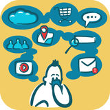 Cartoon young man browsing the internet using smartphone. Social and media icons around it. Royalty Free Stock Image