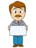 Cartoon young man with empty board Stock Photos