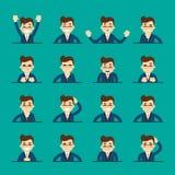 Cartoon young man expressing different emotions Stock Photos