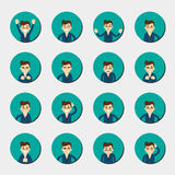 Cartoon young man expressing different emotions Stock Photo