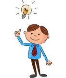 Cartoon a young man full ideas Royalty Free Stock Photography