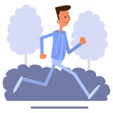 Cartoon young man jogging and listens to music Royalty Free Stock Photography