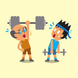 Cartoon young man and old man doing weight training Stock Photo