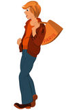 Cartoon young man with orange bag over his shoulder Stock Images