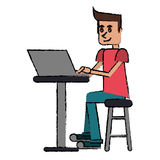 Cartoon young man sitting working computer Stock Photography