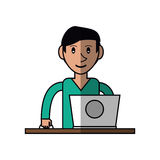 Cartoon young man using laptop on desk Stock Images