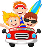 Cartoon Young man and woman having fun driving car Royalty Free Stock Photos