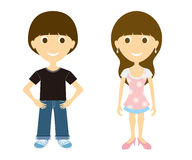 Cartoon young man and women Stock Photography