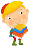 Cartoon young medieval servant. Happy and beautifull illustration for children Royalty Free Stock Images