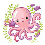 Cartoon young octopus. Cartoon young octopus surrounded by small sea fish and seaweed. Vector illustration in cartoon style for summer sea theme Royalty Free Stock Images