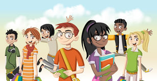 Cartoon young people. Cool teenagers Stock Image