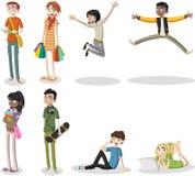 Cartoon young people. Cool teenagers Stock Photo